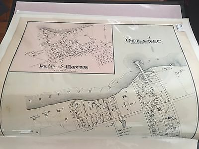 "Early Original Not Repro Fair Haven NJ Oceanic Map  11.25 x 13 7/8"" 1878"