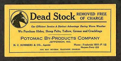 c1938 Antique Advertising Blotter Potomac By-Products Jefferson MD Dead Stock