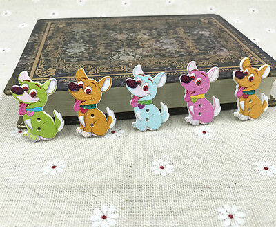 Dog Wooden Buttons Mix-color Sewing Scrapbooking decoration 2 holes 35mm