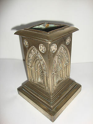 Large Vintage English Church Pillar Architectural Arched Brass Candleholder
