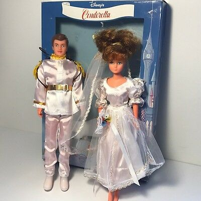 Vintage Walt Disney Cinderella Wedding Prince Dolls Figures Original Box Dress