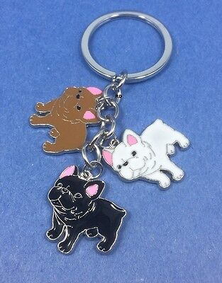 French Bulldog Lovers Key Chain or Purse Charm 3 Bulldogs 3Colors