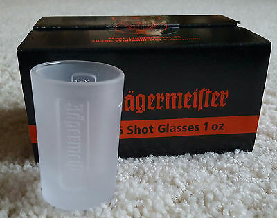 Box of 6 Jägermeister Shot Glasses - 1 Oz. Frosted Glass - NEW in Box