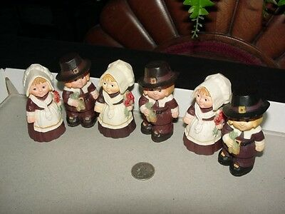 Lot of 6 - PILGRIM BOY and GIRL - Hallmark Thanksgiving Merry Miniatures - 1978