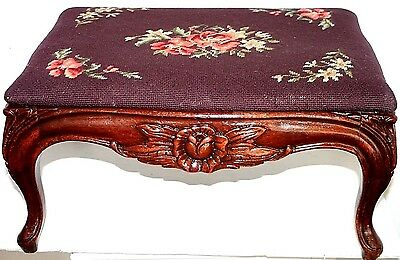 Antique 1880's Carved Mahogany Needlepoint Ottoman Footstool W/ G.fox & Co Label