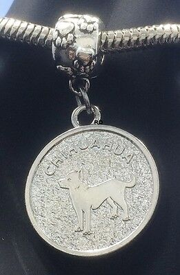 Chihuahua Dog Breed Charm Coin on Pawprint Slider for Bracelet OR Necklace