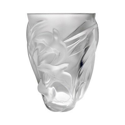 New Lalique Martinets Vase Crystal Brand New In Box #1230800 France Save$ F/sh