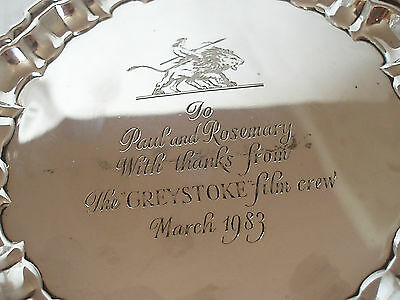 'greystoke' Film Crew Salver Sterling Silver Mappin And Webb Sheffield 1980