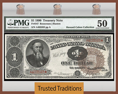 Tt Fr 347 1890 $1 Treasury Note Large Brown Seal Fancy Back Pmg 50 About Unc!
