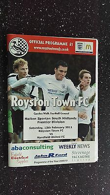 Royston Town V Harefield United 2010-11