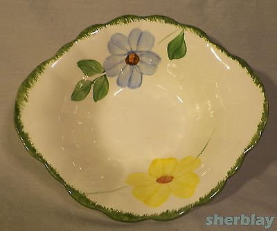 "Vtg Blue Ridge Flower Ring Hand Painted Underglaze Southern Pottery 7"" Tab Bowl"