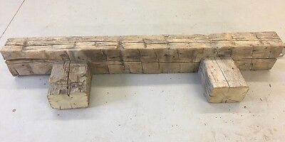 Hand Hewn Barn Beam Wood Fireplace Mantle.