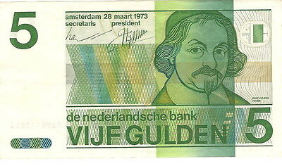1973 Netherlands Extra Fine 5 VIJF Gulden Paper Money Note