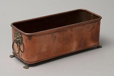 Vintage British Copper Plant Pot/Herb Tray with Brass Lion Handles & Paw Feet