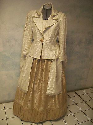 VICTORIAN bustle 1880 REP brocade DRESS sz 12