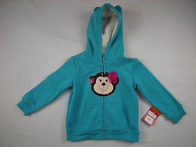 NWT Baby Girl sz 24 month Blue Monkey Hooded Jacket Fall Winter Sonoma