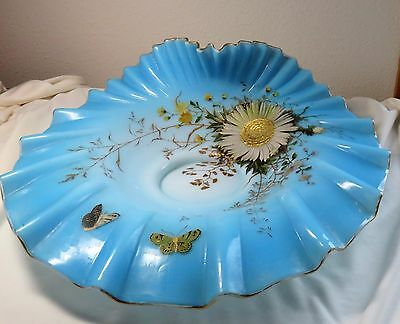 Antique Handpainted Art Glass Bowl for Stand or Brides Basket Turquoise