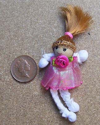 1:12 Scale Pink Rag Doll With A Wooden Head Dolls House Miniature Accessory PT