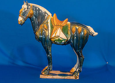 "Large Vintage Sancai Glazed Tang Dynasty Style Horse Statue 14""  8 pounds"