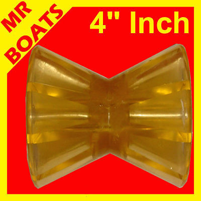 "4"" 100mm WINCH POST BOAT TRAILER ROLLER POLYURETHANE YELLOW Bow Roller FREE POST"