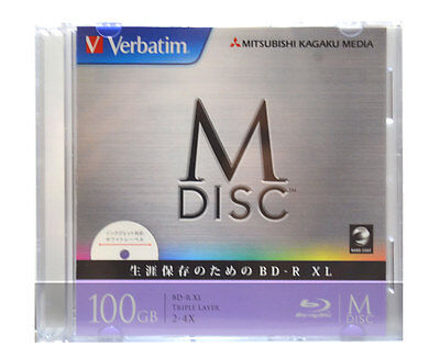 1 Pack Verbatim M-Disc BD-R XL 100GB Bluray 4X Speed Inkjet Printable 1000 Years