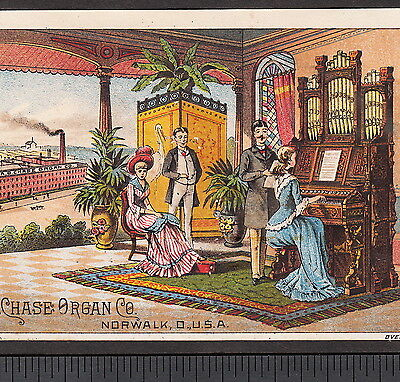 Factory View Chase Organ Co Norwalk Ohio 1800's Victorian Advertising Trade Card