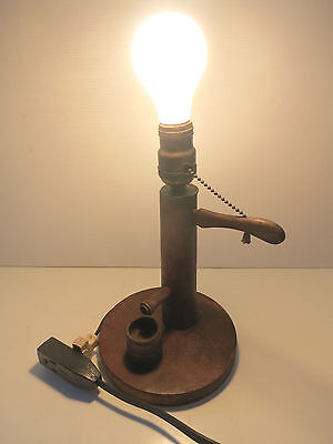 Vintage Wooden Water Well Hand Pump Lamp with Pull Chain Handle