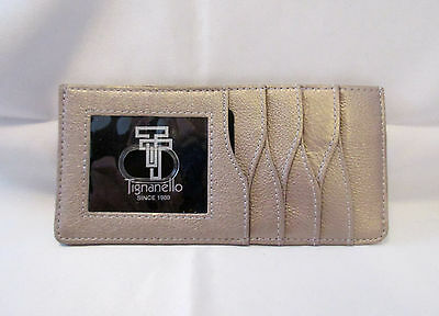 Tignanello Champagne Gold Leather Id Credit Card Organizer Wallet Coin Clutch
