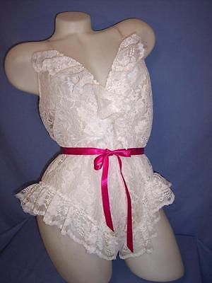 """""""VAL MODE"""" WHITE FLORAL//LACE  100% POLYESTER SLEEPWEAR TEDDY LINGERIE  sz: S"""