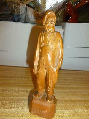 Vintage Folk Art Caron St Jean Port-Joli Signed Canada Elderly Man Wood Carving