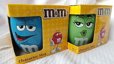 2014 M&M'S Character Mug Set Of 2  Blue and  Green Official Licensed Ceramic NIB