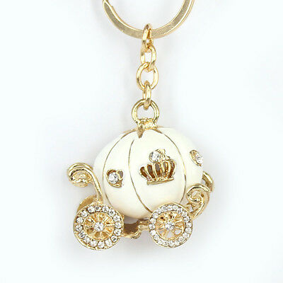 Lovely White Pumpkin Carriage Pendant Crystal Purse Bag Key Ring Halloween Gift