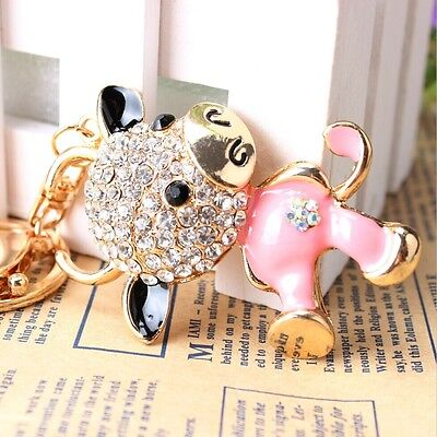 HOT Cute Cow Lovely New Fashion Pendant Crystal Purse Bag Key Chain Gift