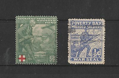 NZ Auckland Wounded Fund, Poverty Bay Wounded Soldiers 2 Cinderella stamps