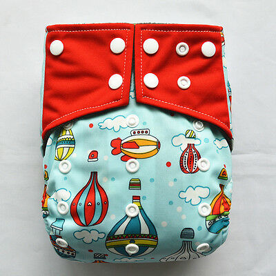 Baby Pocket Cloth Diaper Nappy Charcoal Bamboo Reusable 2 Gusset Hot Air Balloon