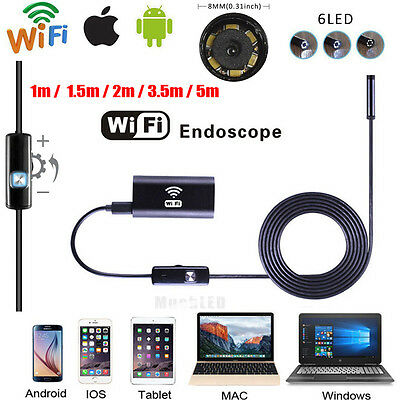 6Led WIFI Waterproof Endoscope Borescope Inspection camera for Andriod Iphone