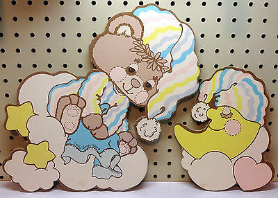 Bedtime Wall Hangings For Child'S Bedroom, Lot Of 2, Bear And Moon