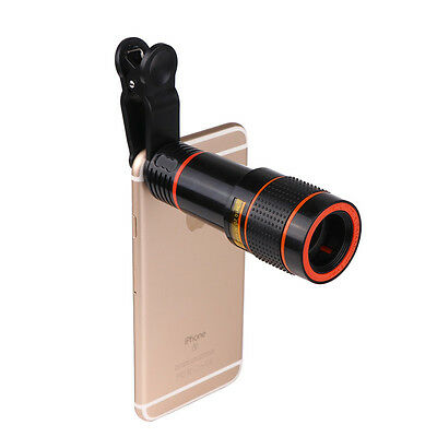 For Universal Mobile Phone 12x Optical Zoom HD Telescope Camera Lens Clip-on