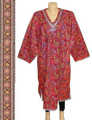 Vintage Long Traditional Bright Uzbek Natural Cotton Chemise M613