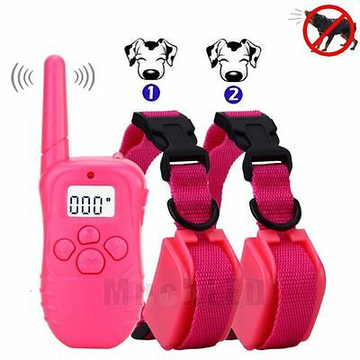 Rechargeable Waterproof LCD 100 Level Shock Vibrate Remote 2 Dog Training Collar