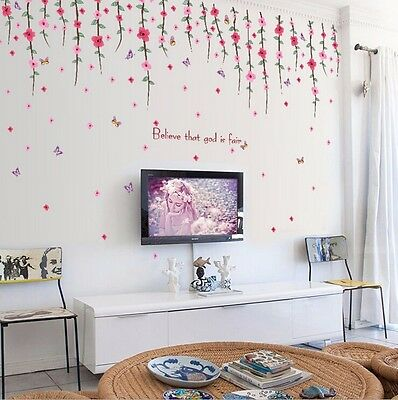 Romantic Red Flower Removable Mural Vinyl Decal Wall Stickers Art Room Decors