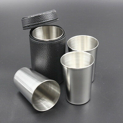 4pcs 1OZ / 2.5OZ / 6OZ Travel Stainless Steel Shot Cup with PU Leather Case