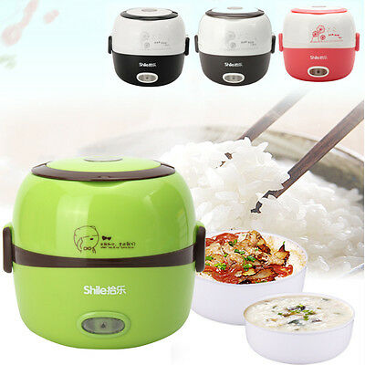 AU 1.3L Electric Portable Lunch Box Rice Cooker Steamer 2 Layer Stainless Steel