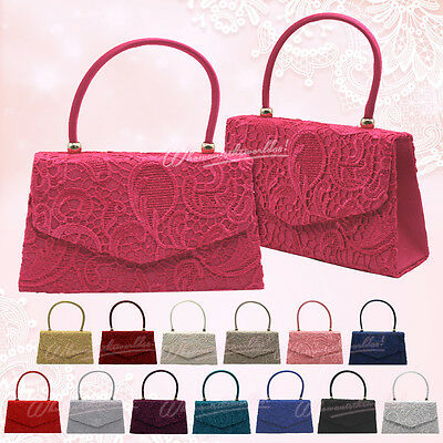 UK Girly Womens Lace Satin Top Handle Evening Party Clutch Shoulder Bag Handbag
