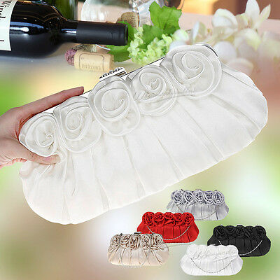 UK Floral Satin Clutch  Wedding Evening Party Bridal Purse Handbag Shoulder Bag