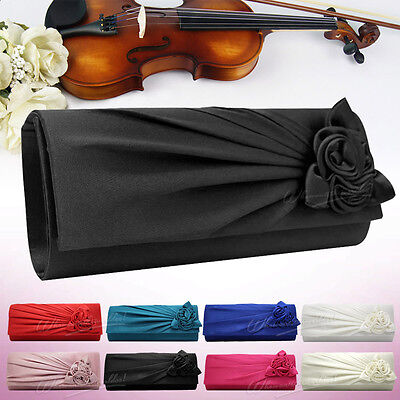 New Satin Floral Lady Clutch Evening Wedding Party Bridal Handbag Shoulder Bag
