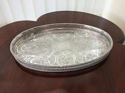oval silver plate on copper gallery / serving tray made in sheffield