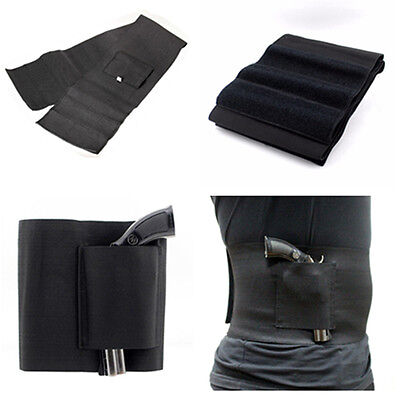 Slim Concealed Carry Belly Band Pistol Gun Holster + 2 Mag Pouches Black Waist H