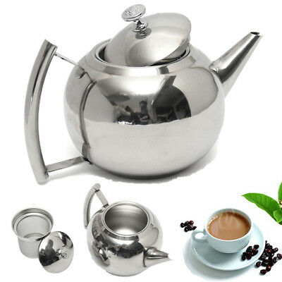 2 L Stainless Steel Teapot Tea Pot Coffee With Leaf Filter Infuser New Strainer