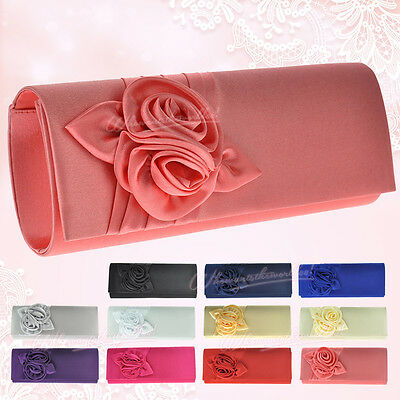 UK Women Satin Floral Evening Clutch Purse Party Bridal Prom Handbag ShoulderBag